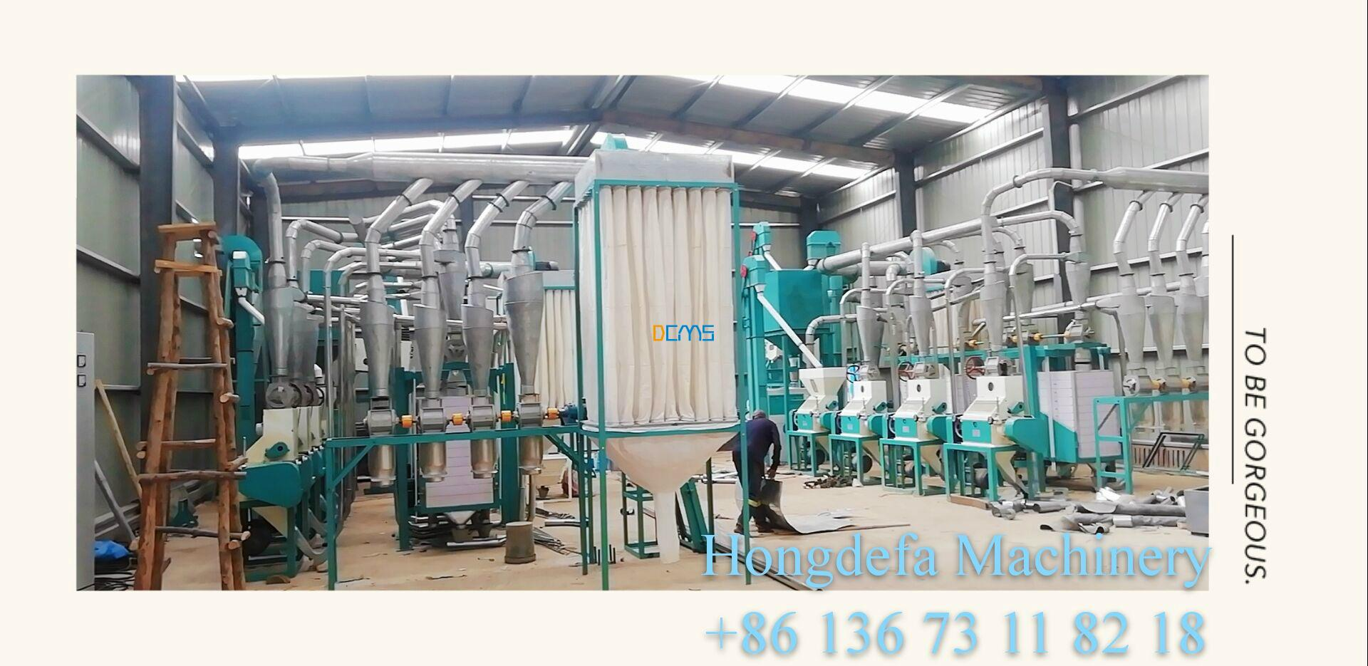 Hongdefa client put two sets of 30t maize milling machine in one warehouse